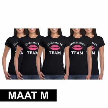5x vrijgezellenfeest team t-shirt zwart dames maat mfeestje!