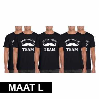 5x vrijgezellenfeest team t-shirt zwart heren maat lfeestje!