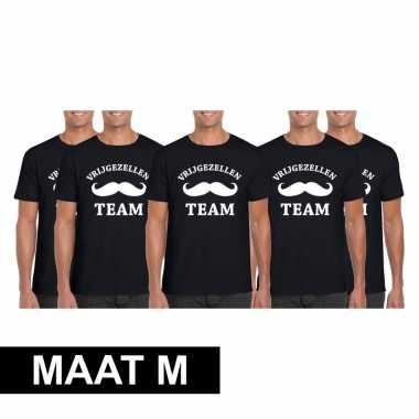 5x vrijgezellenfeest team t-shirt zwart heren maat mfeestje!