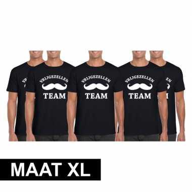 5x vrijgezellenfeest team t-shirt zwart heren maat xlfeestje!