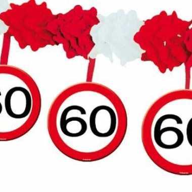 60 jaar verjaardag feest slingers met stopborden van 4 meter- feestje!