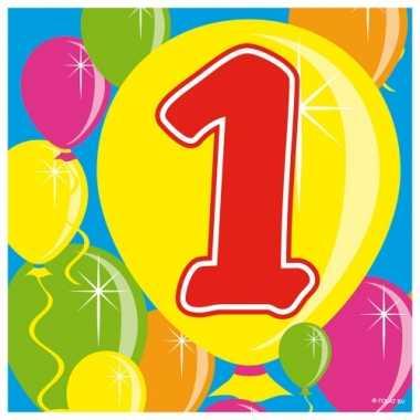 60x 1 jaar leeftijd themafeest servetten balloons 25 x 25 cm- feestje