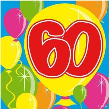 60x 60 jaar leeftijd themafeest servetten balloons 25 x 25 cm- feestj