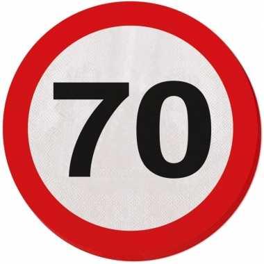 60x 70 jaar leeftijd themafeest servetten verkeersbord 33 cm ron- fee