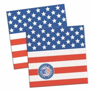60x amerikaanse vlag/usa themafeest servetten 25 x 25 cm- feestje!