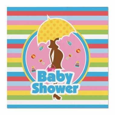 60x babyshower feest servetten gekleurd 25 x 25 cm papier- feestje!