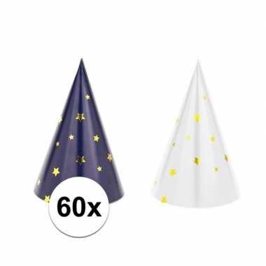 60x blauw/witte feesthoedjes oud en nieuw/nieuwjaar- feestje!