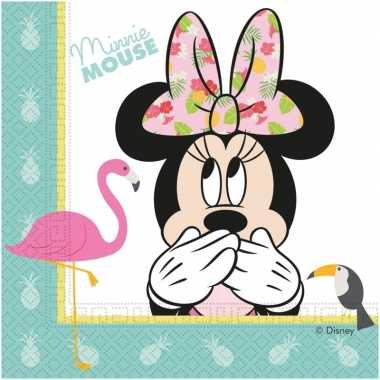 60x disney minnie mouse tropical themafeest servetten 33 x 33 cm- fee