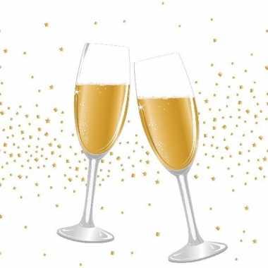 60x feest/jubileum servetten champagne proost 33 x 33 cm- feestje!