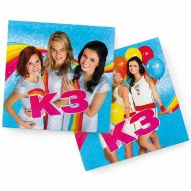 60x k3 themafeest servetten blauw 33 x 33 cm papier- feestje!