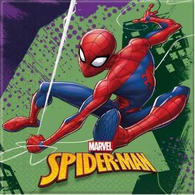 60x marvel spiderman themafeest servetten 33 x 33 cm- feestje!