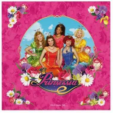 60x prinsessia themafeest servetten roze 33 x 33 cm papier- feestje!