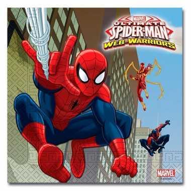 60x spiderman warrior themafeest servetten 33 x 33 cm papier- feestje