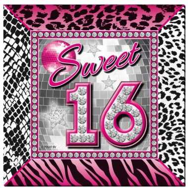 60x sweet 16 themafeest servetten 25 x 25 cm papier- feestje!