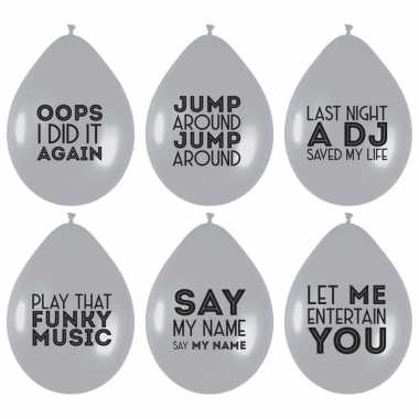 6x ballonnen zilver met muziek quotes feest ballonnen- feestje!