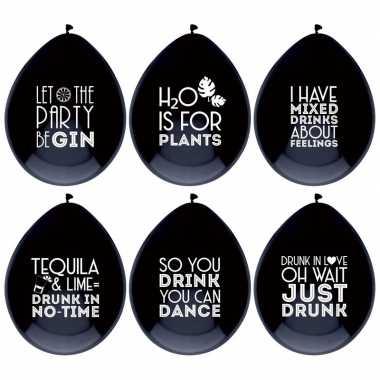 6x ballonnen zwart met drank quotes feest ballonnen- feestje!