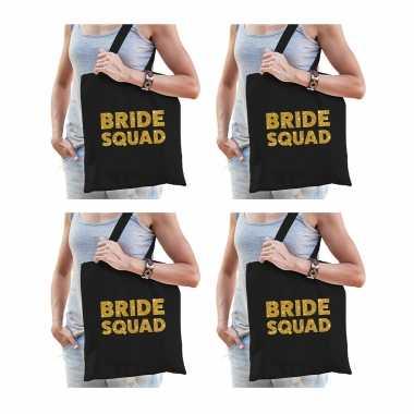 6x bride squad vrijgezellenfeest tasje zwart goud/ goodiebag dames- feestje!