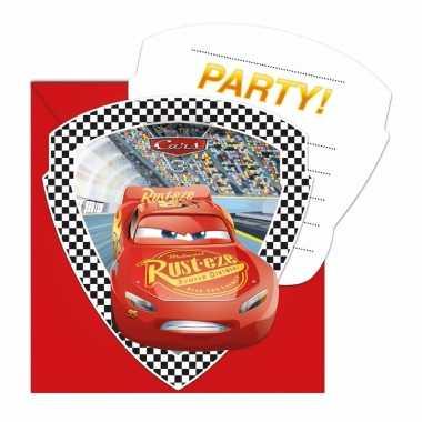 6x cars uitnodigingen voor uw feestje.- feestje!