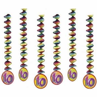6x feestartikelen 10 jaar spiraal- feestje!