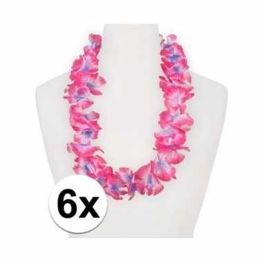 6x feestartikelen hawaii bloemen krans roze/paars- feestje!