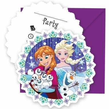 6x frozen blauw/paars themafeest uitnodigingen 11 cm- feestje!