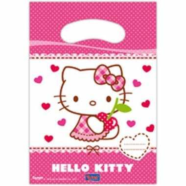 6x hello kitty themafeest feestzakjes 23 cm- feestje!