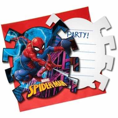 6x marvel spiderman themafeest uitnodigingen 7 cm- feestje!