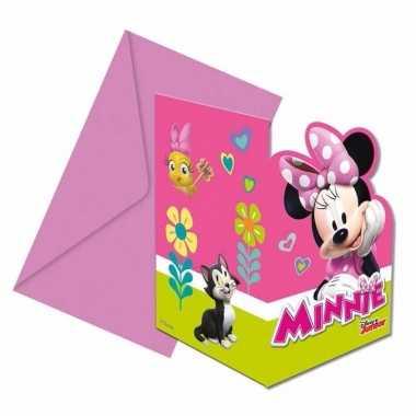 6x minnie mouse uitnodigingen voor uw feestje- feestje!