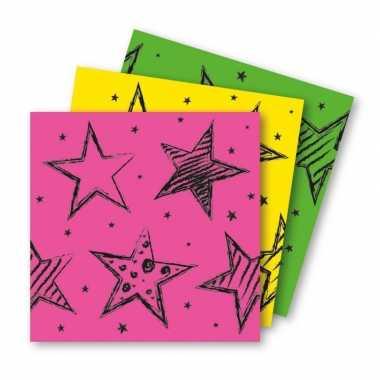 6x neon kleuren feest servetten 33 x 33 cm papier- feestje!