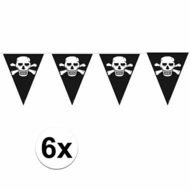 6x piratenfeest vlaggenlijnen- feestje!