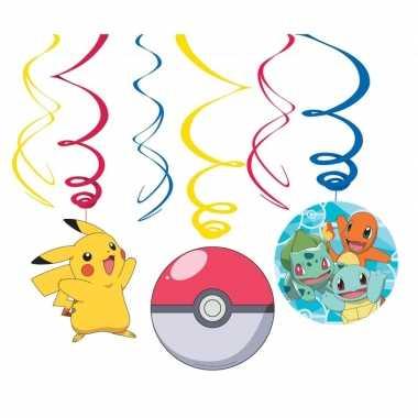 6x pokemon themafeest rotorspiralen hangdecoratie- feestje!