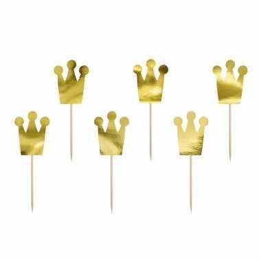 6x prinsessen thema feest prikkers kroon 12 cm- feestje!