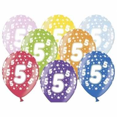 6x stuks ballonnen 5 jaar leeftijd feestartikelen- feestje!