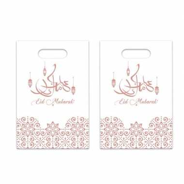 6x stuks ramadan mubarak thema feestzakjes/uitdeelzakjes wit/rose goud 23 x 17 cm- feestje!
