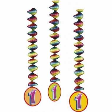 6x stuks rotorspiralen 1 jaar versiering feestartikelen- feestje!