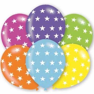 6x stuks verjaardag feest ballonnen met sterren print- feestje!