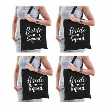 6x vrijgezellenfeest bride squad tasje zwart/ goodiebag dames- feestje!