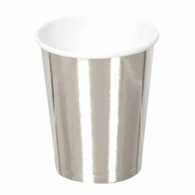6x zilveren feest bekertjes van karton 250 ml- feestje!