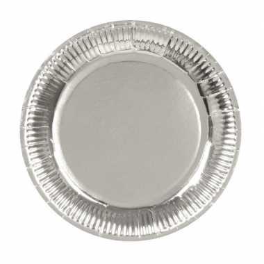 6x zilveren feest borden van karton 23 cm- feestje!
