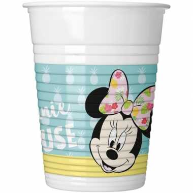 8x disney minnie mouse tropical themafeest bekers 200 ml- feestje!