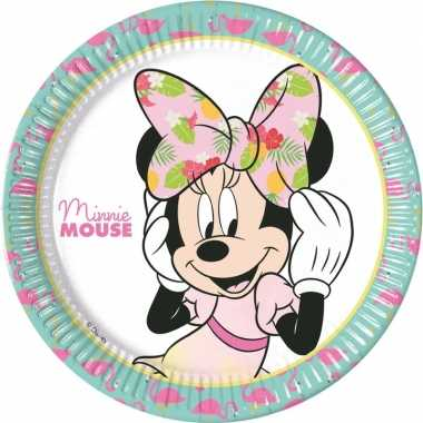 8x disney minnie mouse tropical themafeest bordjes 23 cm- feestje!