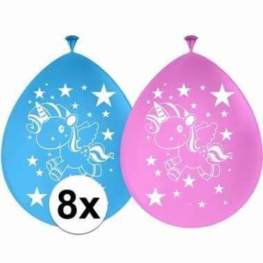 8x eenhoorn themafeest ballonnen 30 cm- feestje!