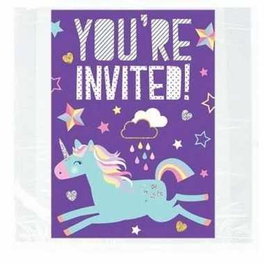8x eenhoorn themafeest uitnodigingen/kaarten- feestje!