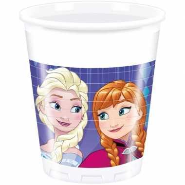 8x frozen blauw/paars themafeest bekers 200 ml- feestje!