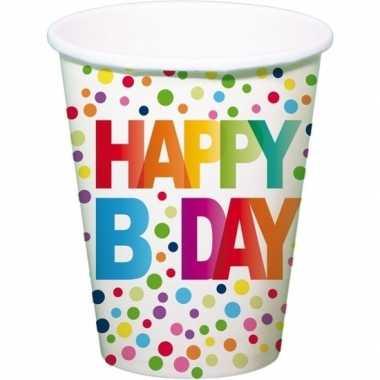 8x happy b-day feestbekertjes met stippen 13 cmfeestje!
