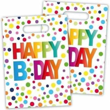 8x happy b-day feestzakjes met stippen 22 cmfeestje!