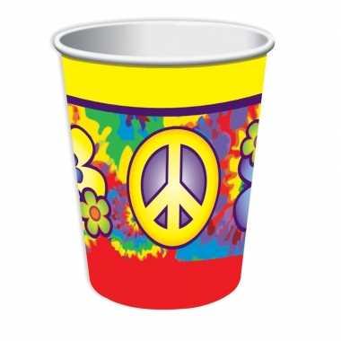 8x hippie themafeest bekers 266 ml- feestje!