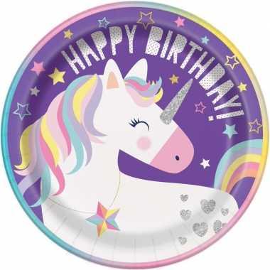 8x kinderfeest unicorn wegwerp bordjes- feestje!