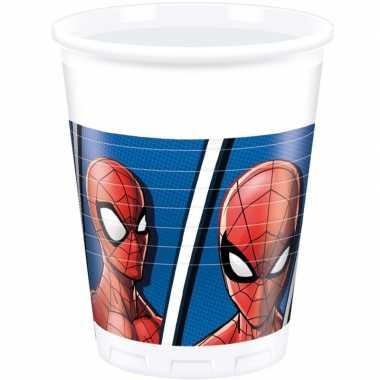 8x marvel spiderman themafeest bekers 200 ml- feestje!