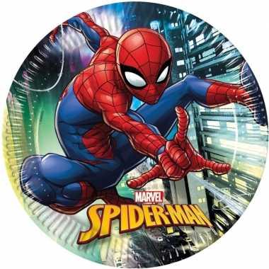 8x marvel spiderman themafeest bordjes 23 cm- feestje!